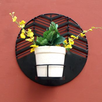 Amalfi Waves wall planter with white pot