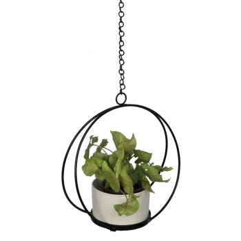 Crescent hanging planter - white