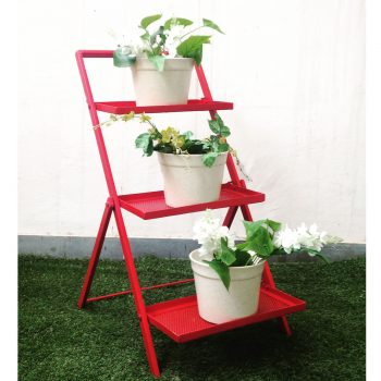 Ferro-3-tier-ladder-shelf-metal---Red