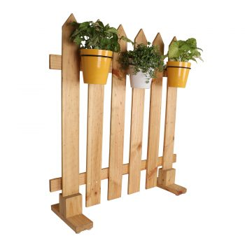 Picket Fence wooden with 3 ceramic pots - white and yellow
