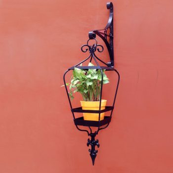 Sicily-hanging-lantern-with-wall-bracket--orange-ceramic-pot