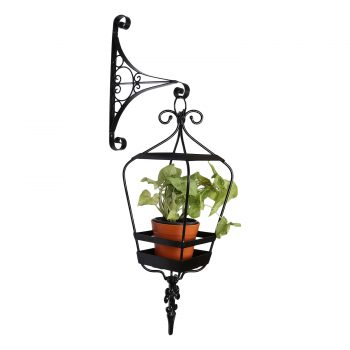 Sicily hanging lantern with wall bracket - terracotta coloured ceramic pot