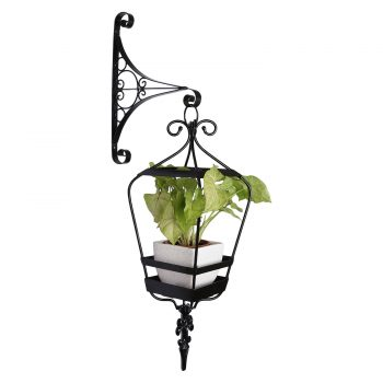 Sicily hanging lantern with wall bracket - white ceramic pot
